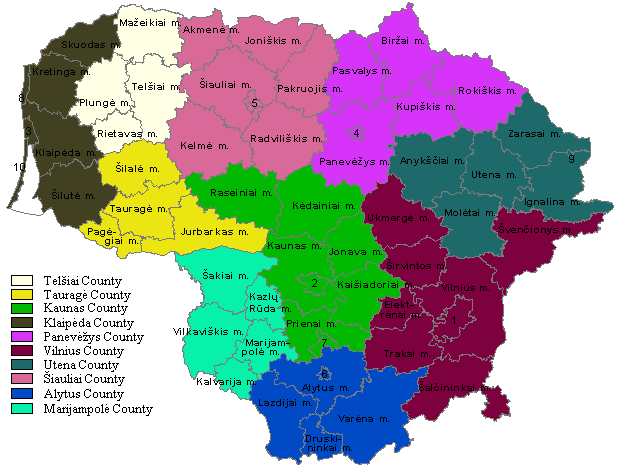 Map showing municipalities and counties in Lithuania
